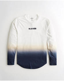 Hollister Ombré Graphic Tee, WHITE TO NAVY OMBRE
