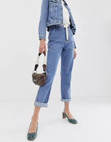 River Island utility mom jeans in mid wash
