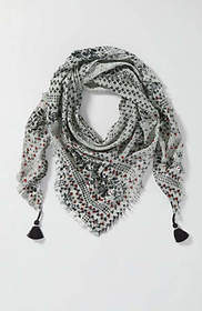 Embroidered Floral Print Triangle Scarf