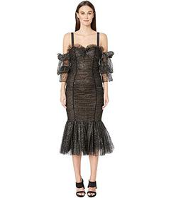 Marchesa Tulle with Metallic Silver Flocked Dot Co