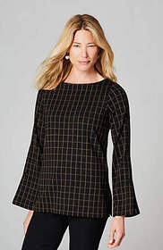 Ponte Knit Buttoned-Sleeve Top