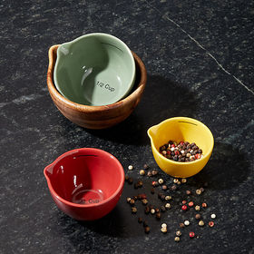 Crate Barrel Wood and Ceramic Measuring Cups