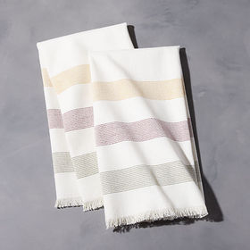 Crate Barrel Casa Striped Fringe Dish Towels, Set
