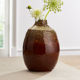 Crate Barrel Bruna Burnt Orange Vase