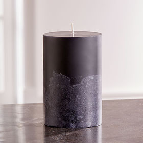 Crate Barrel Black Grey Two-Tone Candle 4x6