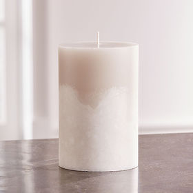 Crate Barrel White Grey Two-Tone Candle 4x6