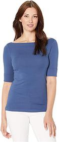 LAUREN Ralph Lauren Stretch Cotton Boatneck Top