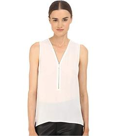 The Kooples Tank Top in Silk and Jersey with a Zip