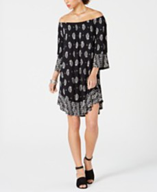 Style & Co Printed Off-The-Shoulder Shift Dress, C
