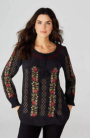 Rose Garden Embroidered Peasant Top