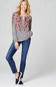 Cascading Flowers Embroidered Top