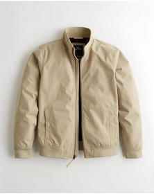 Hollister Jersey-Lined Harrington Jacket, TAN