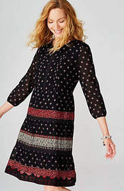 Pintucked Lace-Trimmed Dress