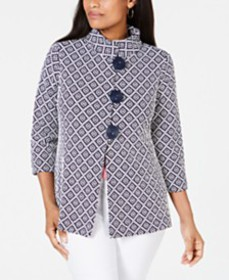 JM Collection Jacquard Stand-Collar Jacket, Create