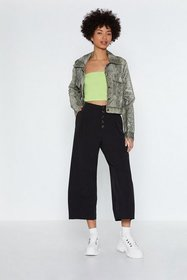 Nasty Gal Womens Black Button Front Pleat Culottes