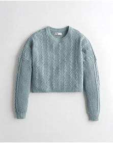 Hollister Crop Cable Crewneck Sweater, BLUE