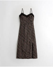Hollister Lace-Trim Midi Dress, BLACK FLORAL