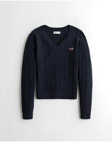 Hollister Cable V-Neck Sweater, NAVY