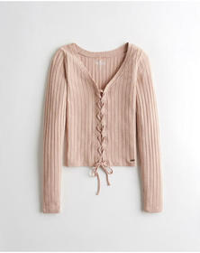 Hollister Lace-Up V-Neck T-Shirt, PINK