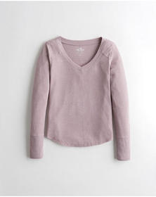 Hollister Cozy Waffle Easy T-Shirt, PURPLE