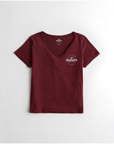 Hollister V-Neck Logo Graphic Tee, BURGUNDY