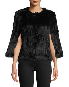 Neiman Marcus Rabbit Fur Short Cape