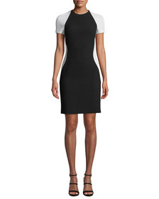 NK32 Naeem Khan Colorblock Short-Sleeve Cocktail D