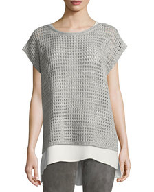 Lafayette 148 New York Short-Sleeve Open-Stitch Se