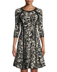 Neiman Marcus Floral-Jacquard Fit & Flare Sweater