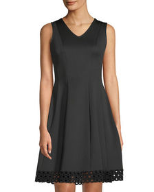 Donna Ricco V-Neck Fit & Flare Lace-Hem Dress