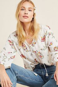 Anthropologie Augustana Floral Peasant Blouse