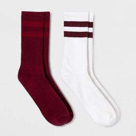 Men's Striped 2pk Athletic Crew Socks - Goodfellow