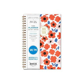 "2019-2020 Academic Planner 5""x 8"" Orange Flowers -"