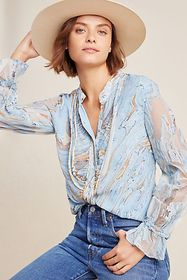 Anthropologie Portia Marbled Peasant Blouse