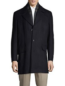 Kenneth Cole REACTION Notched Wool-Blend Coat NAVY