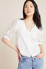 Anthropologie Jia Floral Puff-Sleeved Blouse