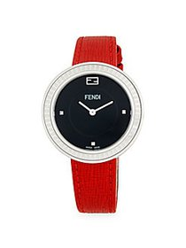 Fendi Stainless Steel Leather-Strap Watch BLACK