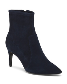 CHARLES DAVID Suede Pointy Toe Kitten Heel Boots