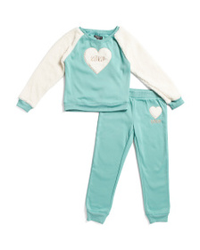 XOXO Little Girls 2pc Faux Sherpa Heart Joggers Se