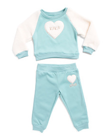 XOXO Big Girls 2pc Faux Sherpa Heart Jogger Set