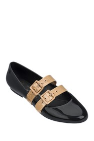 Melissa Faux Leather Buckle Vamp Flat