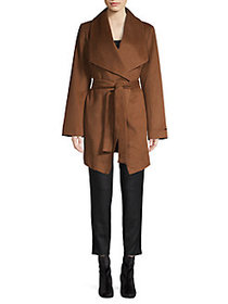 T Tahari Wool-Blend Wing-Lapel Wrap Coat VICUNA