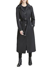 DKNY Belted Maxi Trench Coat BLACK