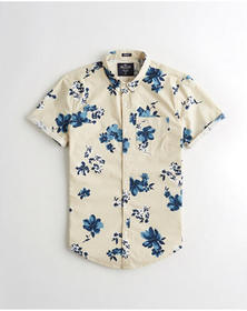 Hollister Stretch Poplin Slim Fit Shirt, TAN FLORA