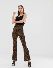 Missguided devore flared pants in chocolate zebra