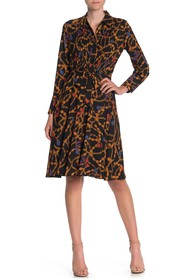 Nanette Lepore Long Sleeve Belted Floral Print Pin