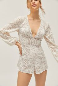 Finders Keepers Sofia Lace Plunging Long Sleeve Ro