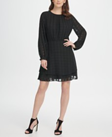 DKNY Long Sleeve Double Layer Skirt Check Georgett