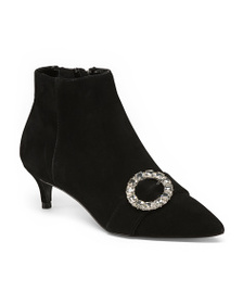 CHARLES DAVID Suede Kitten Heel Pointed Toe Bootie