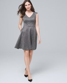 Ponte Knit Fit-and-Flare Dress
